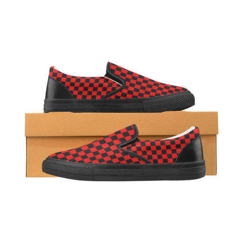 Red and Black Checkered Women's Slip-on Canvas Shoes (Model 019)