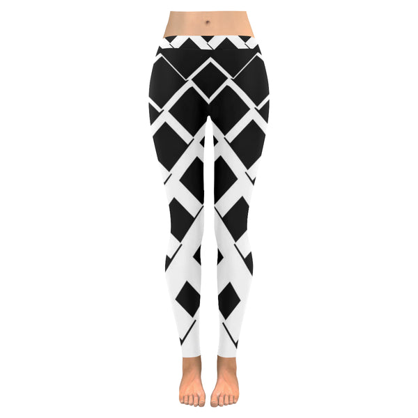 Black and White Diamond Low Rise Leggings XXS-XXXXXL - kdb solution