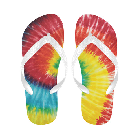 Tie Dye Colours 3 Flip Flops for Men/Women (Model 040)