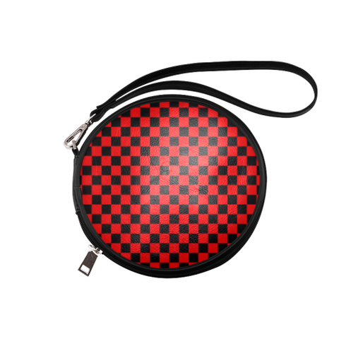 Black and Red Checkered Round Makeup Bag (Model 1625) - kdb solution