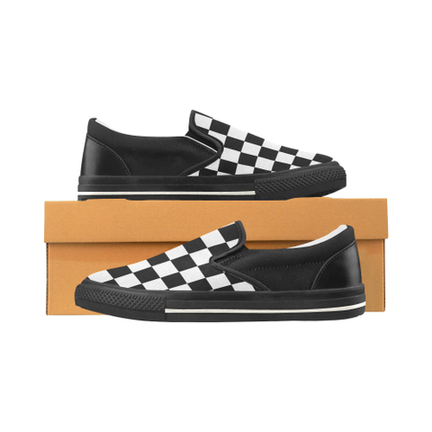 Black and White Checkered Pattern Women's Slip-on Canvas Shoes (Model 019) - kdb solution
