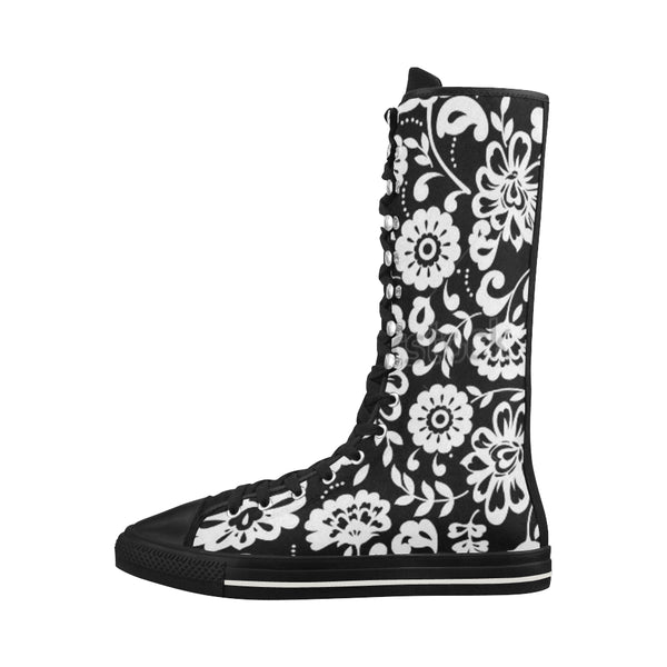 Black and White Flowers Canvas Long Boots For Women Model 7013H - kdb solution