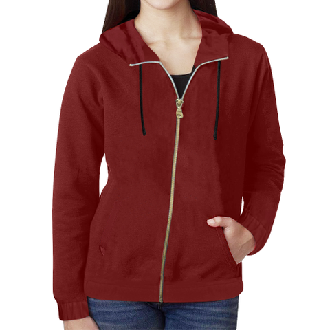 KDB Wine color All Over Print Full Zip Hoodie for Women (Model H14)