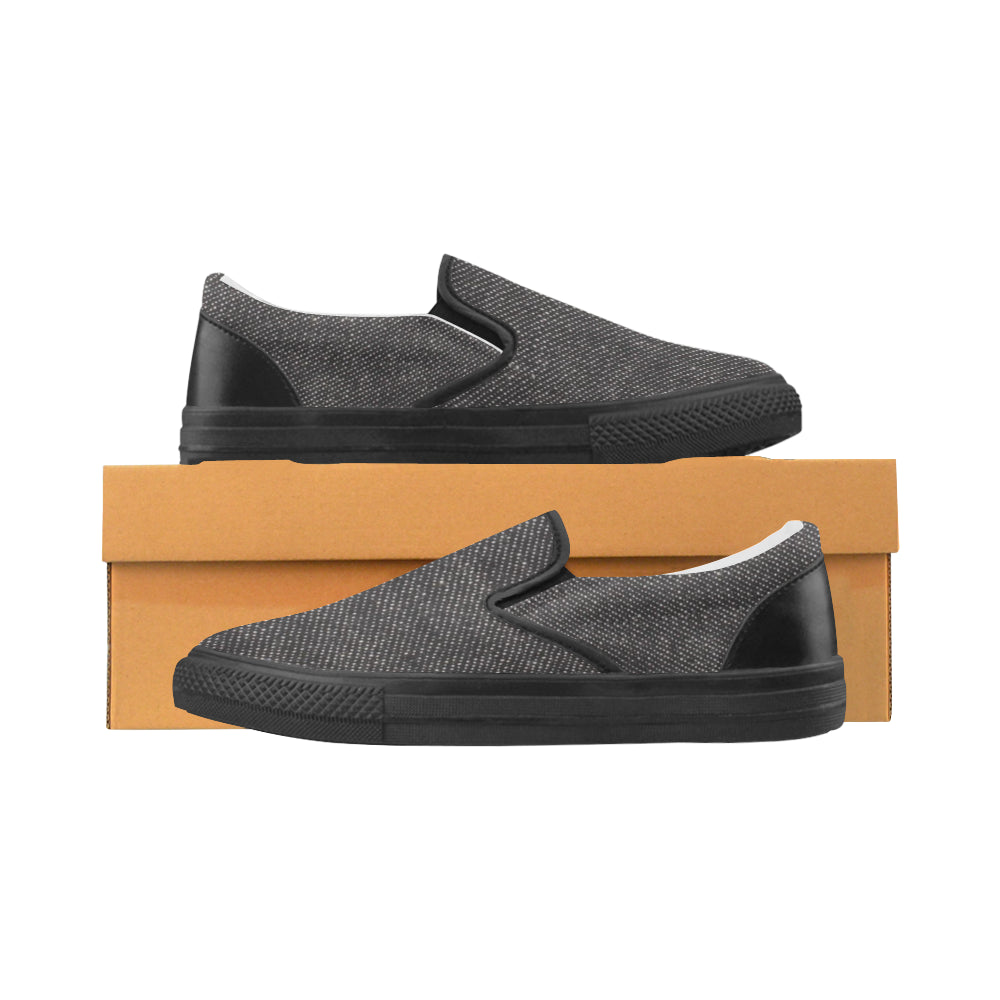Black Denim Black sole Men's Slip-on Canvas Shoes (Model 019) - kdb solution