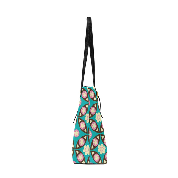 Green Flower Pattern Euramerican Tote Bag/Large (Model 1656) - kdb solution