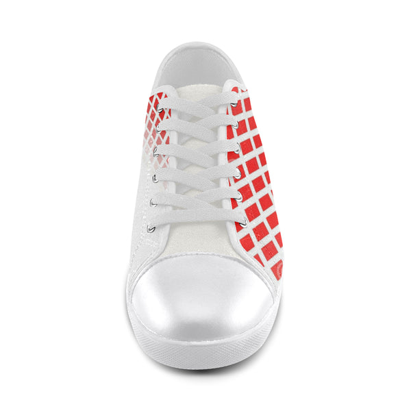 Women's Red and White Faded Diamond Canvas Shoe 's - kdb solution