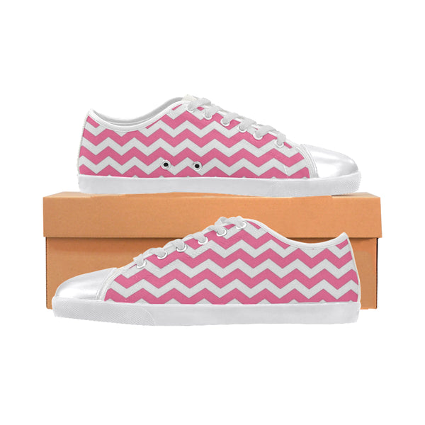 Pink and White Zigzag Women's Canvas Shoes (Model 016) - kdb solution