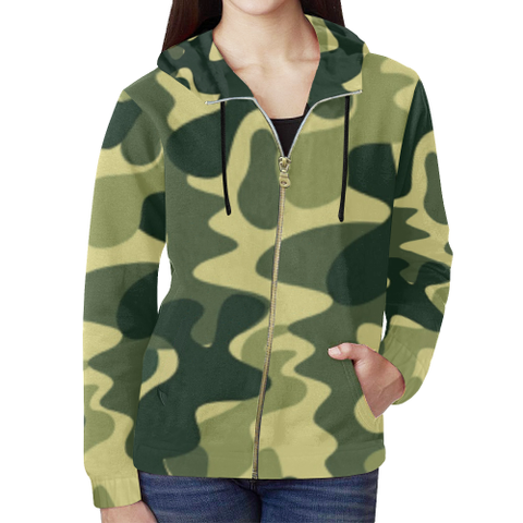 KDB Army Print All Over Print Full Zip Hoodie for Women (Model H14)