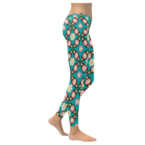 Flower Pattern Low Rise Leggings (Invisible Stitch) (Model L05) - kdb solution