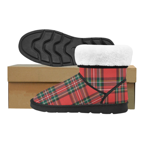 Red Plaid Custom High Top Unisex Snow Boots (Model 047) - kdb solution