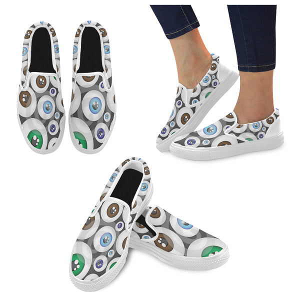 Women's Eyeball Pattern Canvas Slip on Shoes #039;s - kdb solution