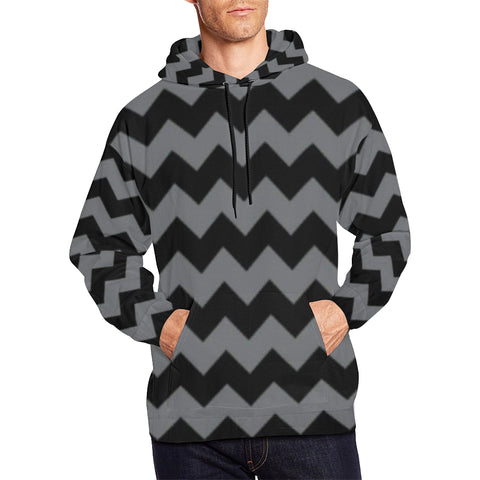 Black and Grey All Over Print Hoodie for Men (USA Size) (Model H13) - kdb solution