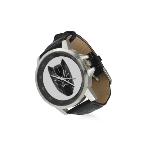 Black Panther Unisex Stainless Steel Leather Strap Watch(Model 202) - kdb solution