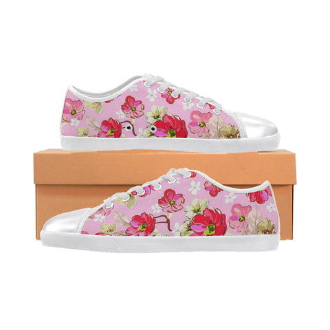 pink and white flowers Women's Canvas Shoes (Model 016)