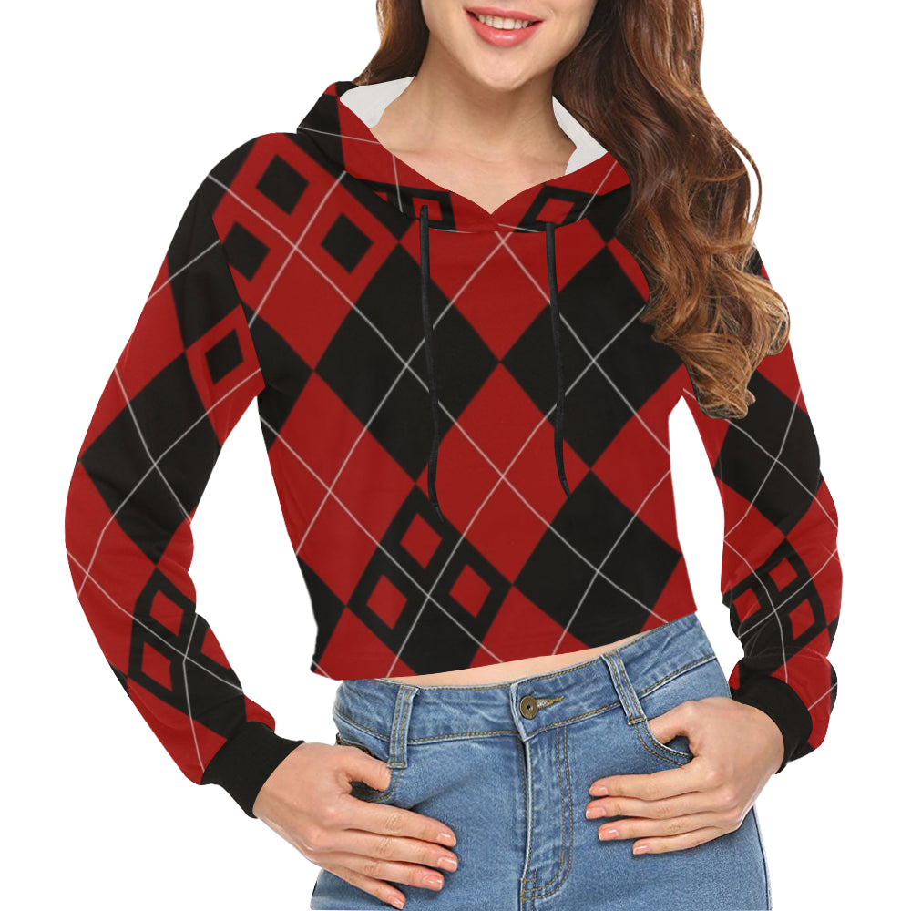 Red and Black Diamonds All Over Print Crop Hoodie for Women (Model H22) - kdb solution