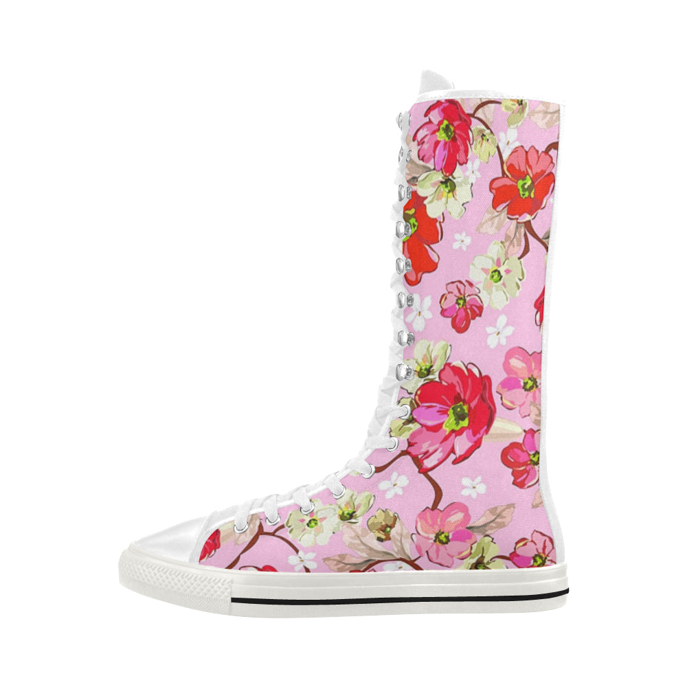 Pink and White Flowers Canvas Long Boots For Women Model 7013H - kdb solution