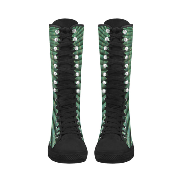 Bamboo Canvas Long Boots For Women Model 7013H - kdb solution