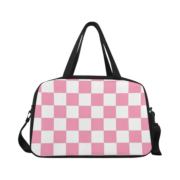 Pink and White Checkered Fitness/Overnight bag(Model 1671) - kdb solution