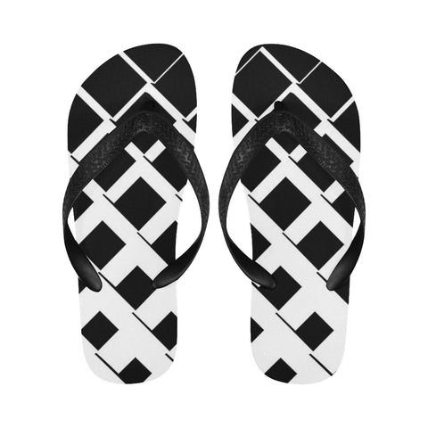 Black and White Pattern Flip Flops for Men/Women (Model 040) - kdb solution