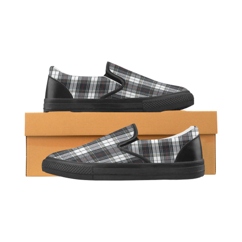 Black Grey and White Plaid Women's Slip-on Canvas Shoes (Model 019) - kdb solution