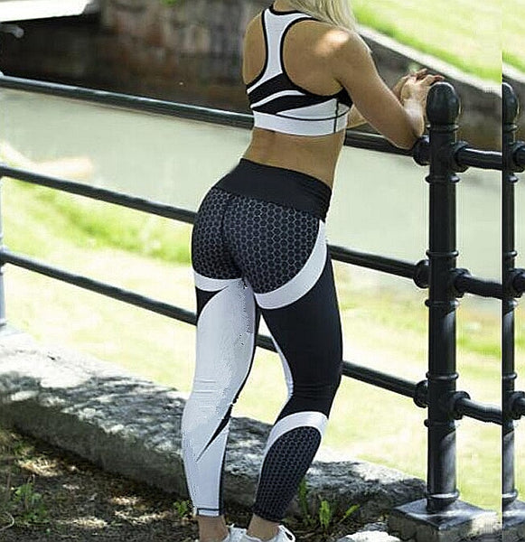 Mesh Pattern Print fitness Leggings - kdb solution