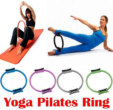 Dual Grip Pilates Yoga Wheel Gymnastic Ring Gym Workout Back Training Tool Home Slimming - kdb solution