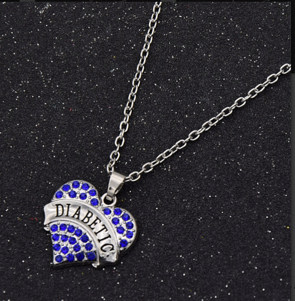 Medical Alert Crystal Heart Pendant Necklace DIABETIC Awareness Men Women Jewelry - kdb solution