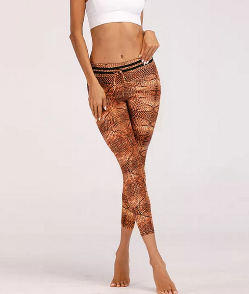 Knitting Rope Print Patchwork Leggings - kdb solution