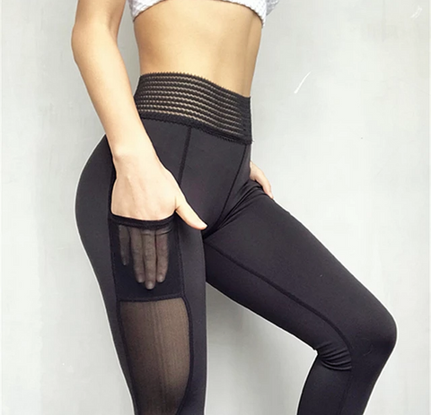 Oyoo unique high waist sport leggings with side pocket white mesh yoga pants solid training pants - kdb solution
