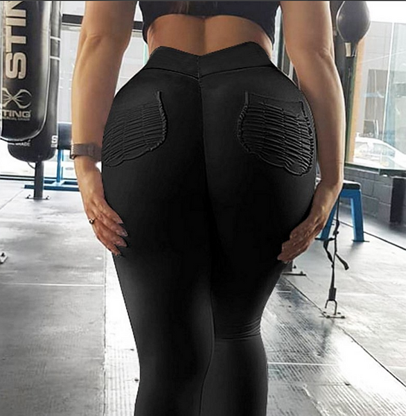 Women Fitness Push Up Leggings High Waist Elastic Workout Legging with side pocket - kdb solution