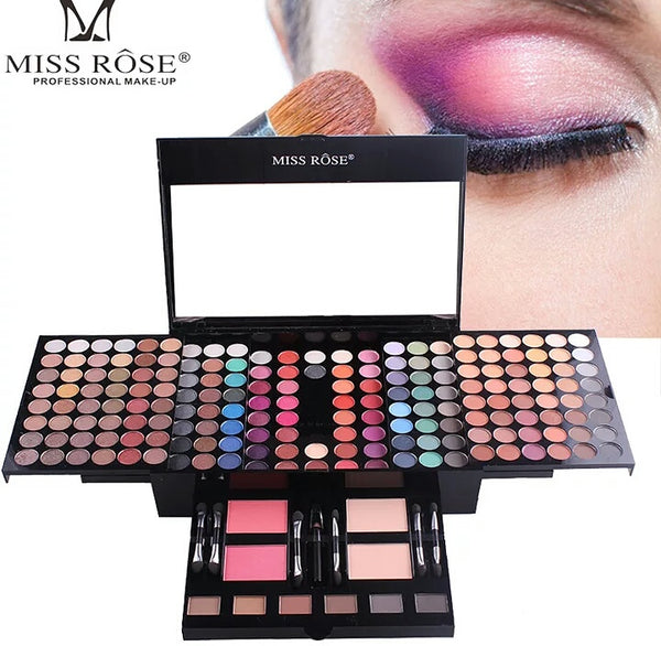 Miss Rose Professional Makeup 180 Colors Matte Shimmer Palette Powder Blush Eyebrow Contouring Beauty Kit Box - kdb solution