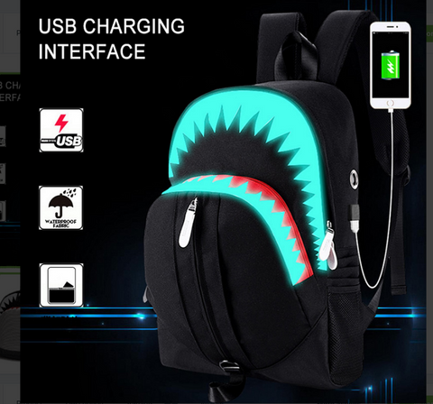 Big Mouth Shark Glow in the dark School Backpack for Boys/Girls with USB Charge port - kdb solution