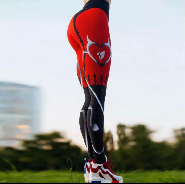 Heart Print Red and Black Leggings Sizes XS-XL - kdb solution