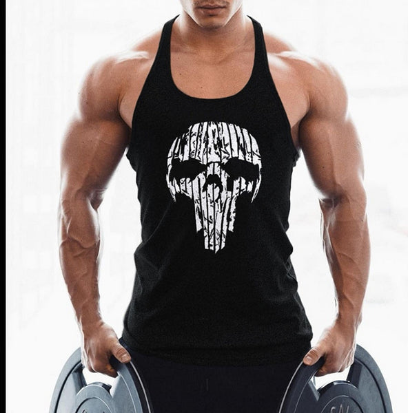 OA Men Skull Printing Muscle Fit Gyms Workout Tank Tops Bodybuilding Y Back Sport Sleeveless Vest Stringer Singlets Shirt - kdb solution