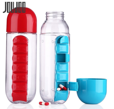 1PCS Water bottle with 7 Days Tablet Pill Box Holder /organizer - kdb solution