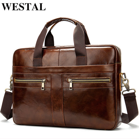 WESTAL Men's Genuine Leather briefcase/Shoulder  bag ideal for  laptop - kdb solution