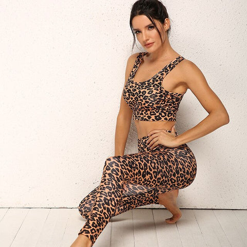 Leopard Print Yellow and Black Yoga Set Pushup Bra and leggings