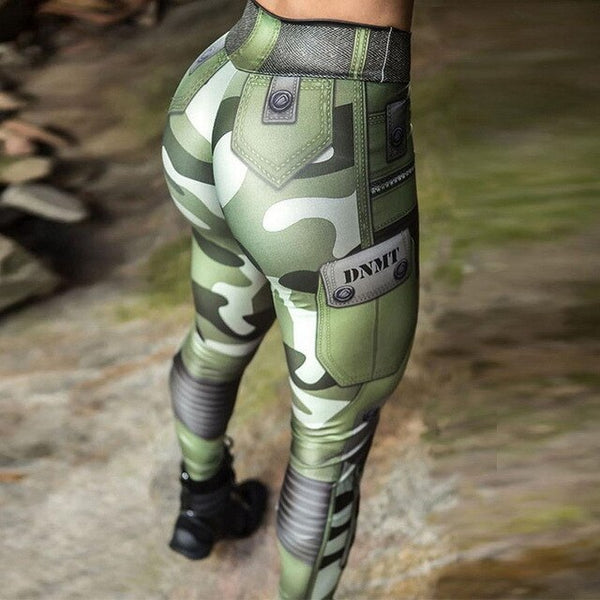 Push Up Water Drop Camouflage Print Leggings High Waist - kdb solution