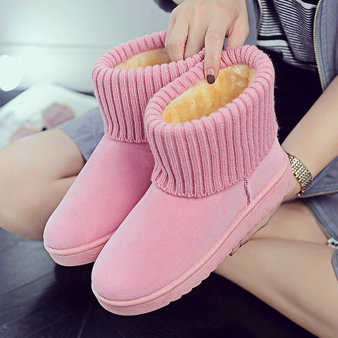 Winter Snow Boots Flat Bottom Round Toe Non-slip Fur Women Winter Boots - kdb solution