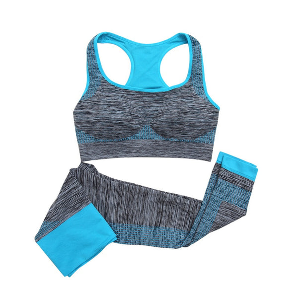 2Pcs Women Yoga Fitness Seamless Bra+Pants Leggings Set Gym Workout Sports Wear Note* Please allow 2-3 weeks for Delivery - kdb solution