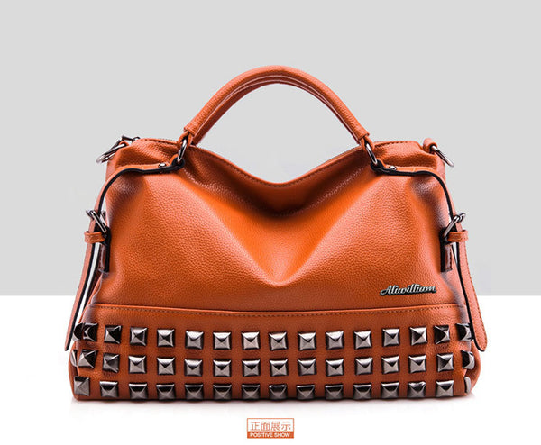 New Rivet Women Leather Handbags Vintage *Please allow 2-3 weeks for Delivery - kdb solution