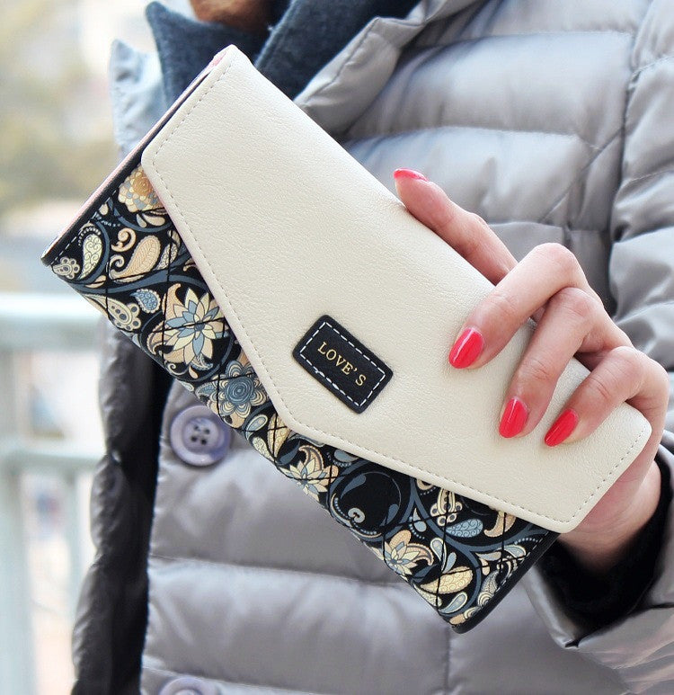 New Fashion Envelope Women Wallet Hit Color 3Fold Flowers Printing 5Colors PU Leather Wallet - kdb solution