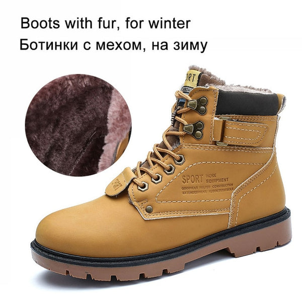 REETENE Men's Winter Snow Boots Fur lined Ankle High Quality Plus Size 46 - kdb solution