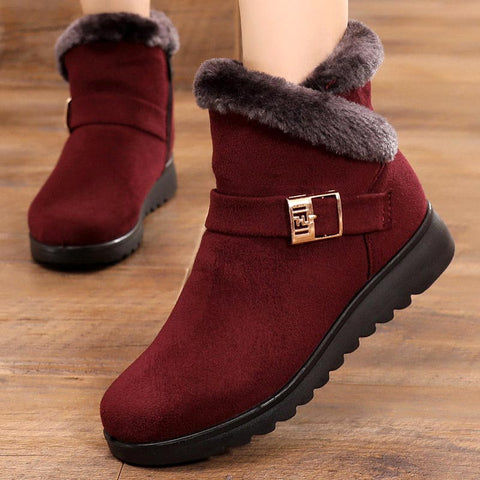 Suede women snow boots solid flat with plush warm - kdb solution