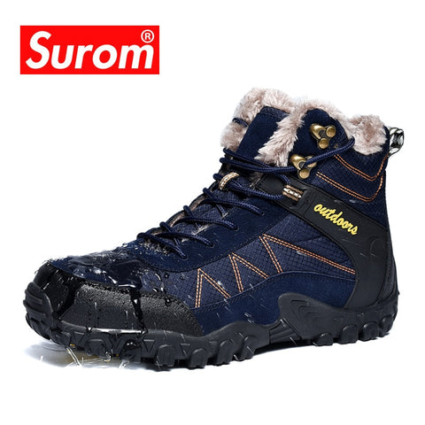 SUROM Winter Men's Boots Outdoor Warm Waterproof Non-slip Ankle Snow Boot