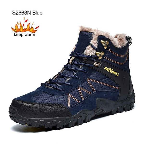SUROM Winter Men's Boots Outdoor Warm Waterproof Non-slip Ankle Snow Boot - kdb solution