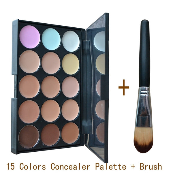 Concealer 15 Colors Contour Palette And Powder Brush 2 Pcs Set Professional Face Concealer Primer Makeup Cream Base Make Up M182 NOTE* Please allow 2-3 weeks for Delivery - kdb solution