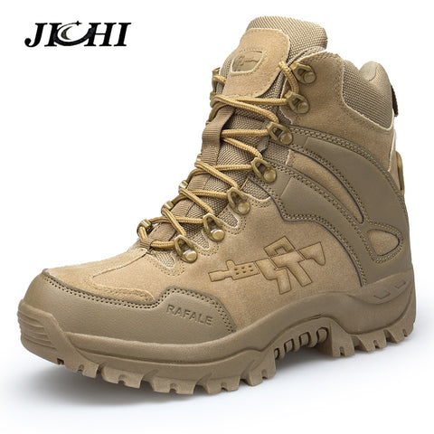 JICHI Men's Military boot Combat Chukka Ankle Boot Tactical large Size Army Boot