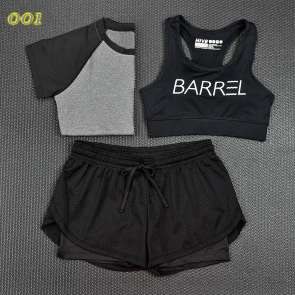 2017 New 3 Pcs Women Yoga Fitness Set Cropped Tops T-Shirt & Bra & Trousers Sports Wear Gym Clothes Training Suit Tracksuits Note* Please allow 2-3 weeks for Delivery - kdb solution