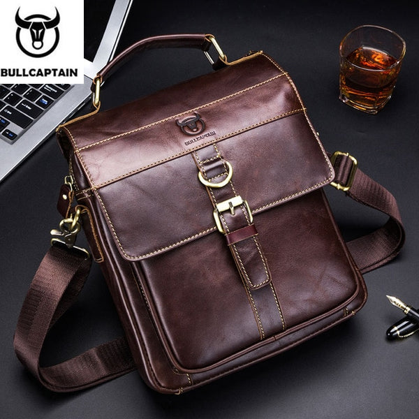 BULLCAPTAIN leather  retro business messenger bag, leather men's shoulder bag - kdb solution